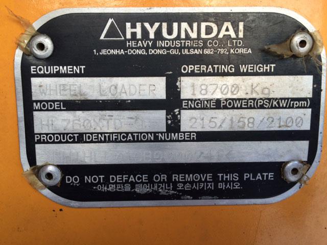Hyundai HL760-9 HHIHLL01CB0024